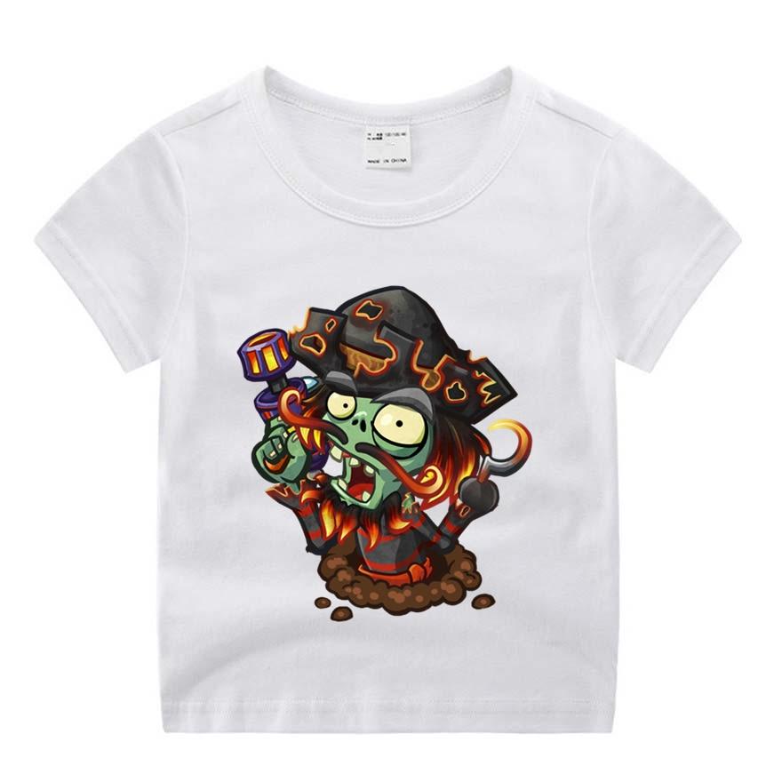 Children Cartoon Movie Plants Vs Zombies Funny Cartoon Print T-shirt Kids Summer O-Neck Tops Boys & Girls Tshirt Baby Clothes