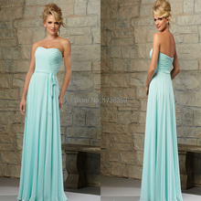 Customize 2015 Sexy Pleat Strapless Sashes Adult Sweetheart Neckline Floor Length A Line Mint Chiffon Long Bridesmaid Dresses