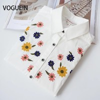VOGUE N New Womens Ladies Spring Floral Embroidery Long Sleeve Button Down Shirt Casual Blouse Tops