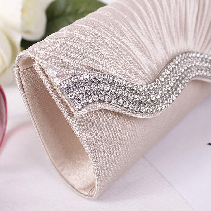 Women Rhinestone Evening Hand Bag Satin Wedding Purse Women's Evening Bags