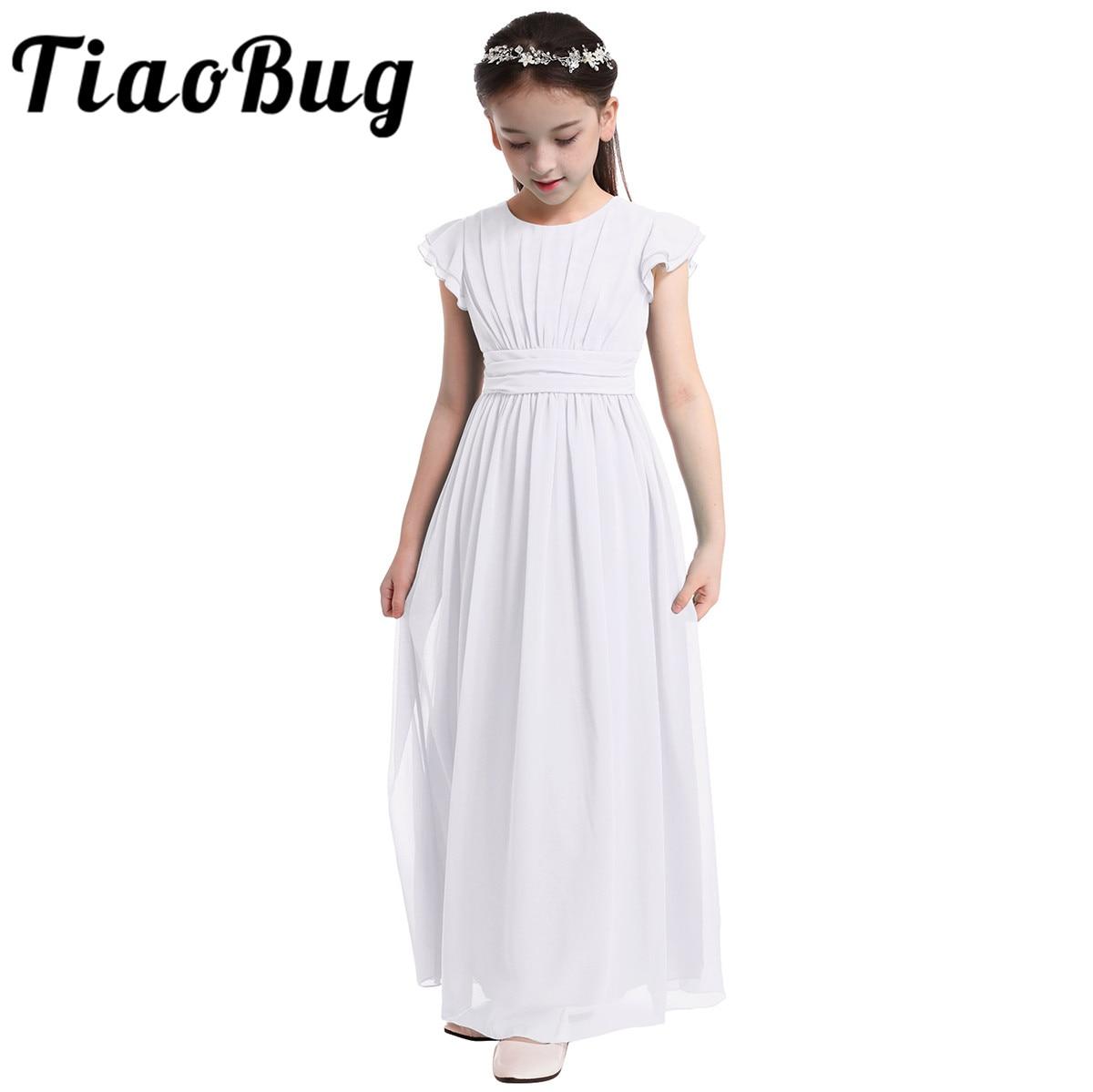 Girls Chiffon Flutter Sleeves Flower Girl Dress Pleated High waisted Princess Pageant Birthday Wedding Party Long Dress SZ 4 14Flower Girl Dresses   -