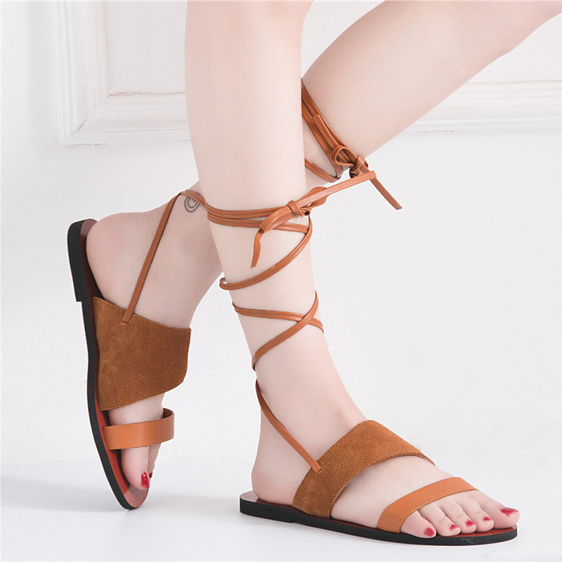 Women's Sandals Lace up Ankle Strap Genuine Leather Cow Suede Woman Sandals Peep Toe Womans Summer Flat Shoes Gladiator 2017 sandals women genuine leather lace up ankle wrap 2017 summer shoes woman gladiator sandal flat wedding shoes sandalias mujer
