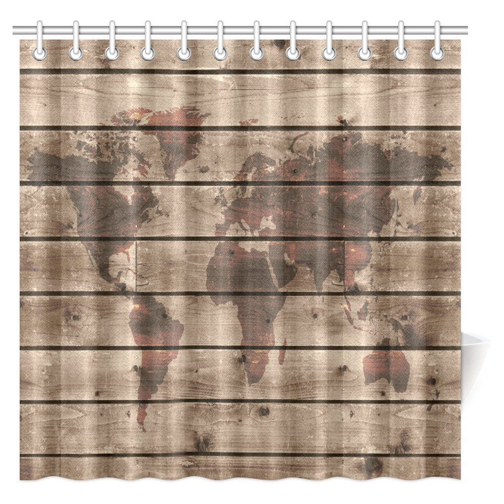 Aplysia rustic world map decor shower curtain vintage old world map globe wooden antiqued rustic - Old world map shower curtain ...
