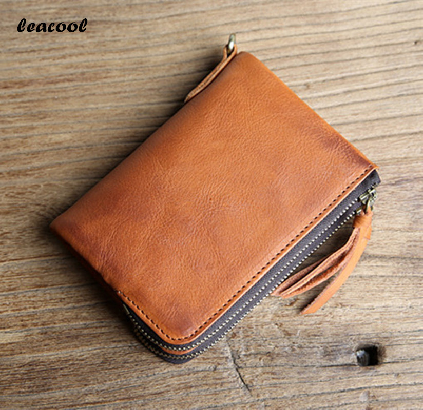 Leacool Genuine Leather Men Wallet Small Men Walet Zipper&Hasp Male Portomonee Short Coin Purse Brand Perse Carteira 2 Color 2017 new wallet small coin purse short men wallets genuine leather men purse wallet brand purse vintage men leather wallet