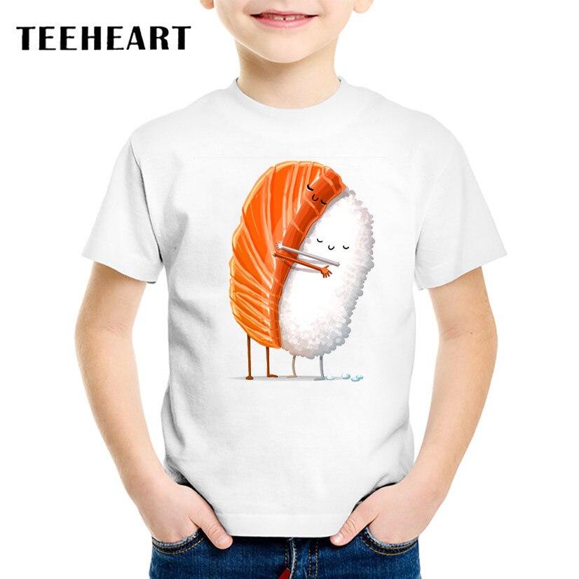 18M-10T Print Sushi L T shirt For Boys/girls Summer T-Shirts for Children Baby Girls Clothing TA210