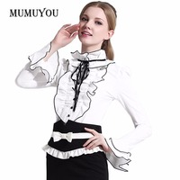 Lolita Shirt Top Blouse Women Lady Office Frilly Ruffle Cuffs Puff Long Sleeve Party Vintage Retro