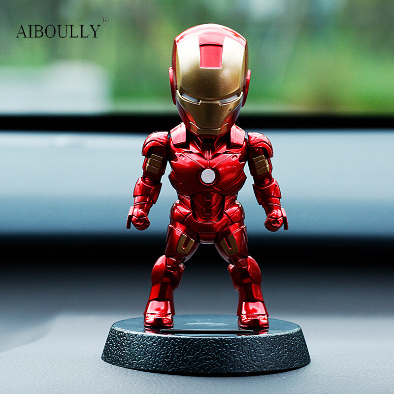 2017 Q Version Action Figure Superhero Iron Man PVC Figure Solar Energy Shake Head Toy 12cm Chritmas Gift Toys