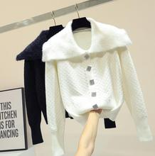 Spring Winter New Skinny White Sweater Female Korean Chic Navy Collar Drill Buckle Cardigan Coat Student Basic Tops Crop Top