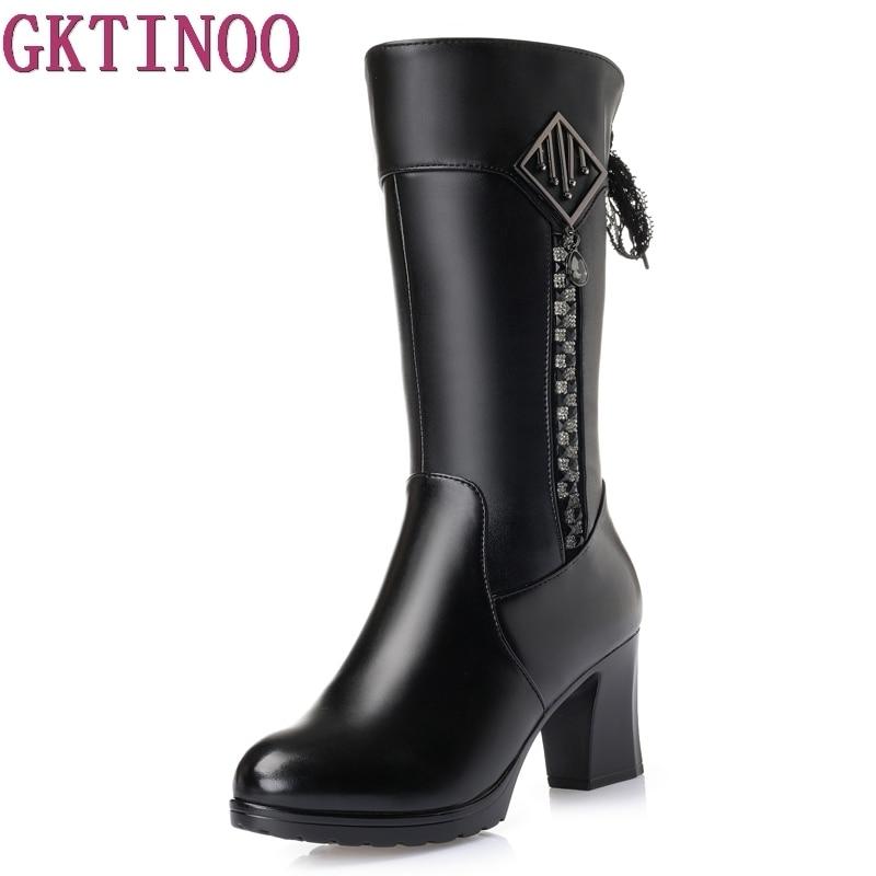 Size 35-41 Women High Heel Boots Thick Fur Genuine Leather Mid Calf Boots Women Winter Shoes Warm Botas Women Footwears