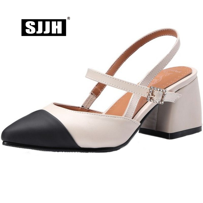 SJJH Women Sandals with Pointed Toe and Block Heels Mixed Colors Buckle Strap Footwear Fashion Casual