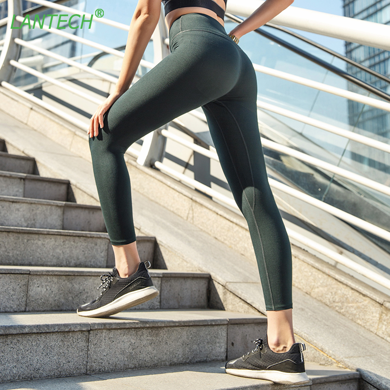 LANTECH Women Yoga Ninth Pants Sports Running Sportswear High Waist Fitness Leggings Exercise Gym Compression Pants Trousers