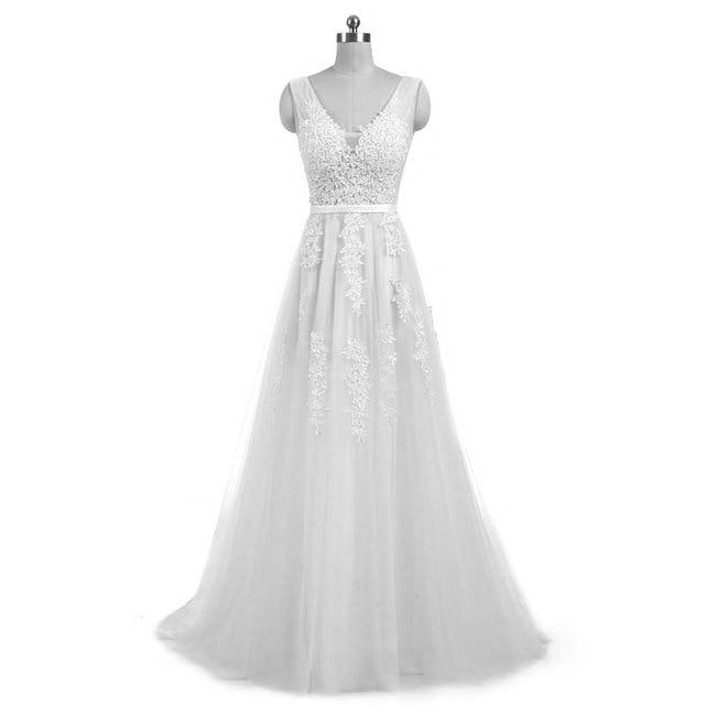 New arrival elegant champagne  wedding dress Vestido de Festa appliques zipper A-line dress sweep train bow dress lace style 6