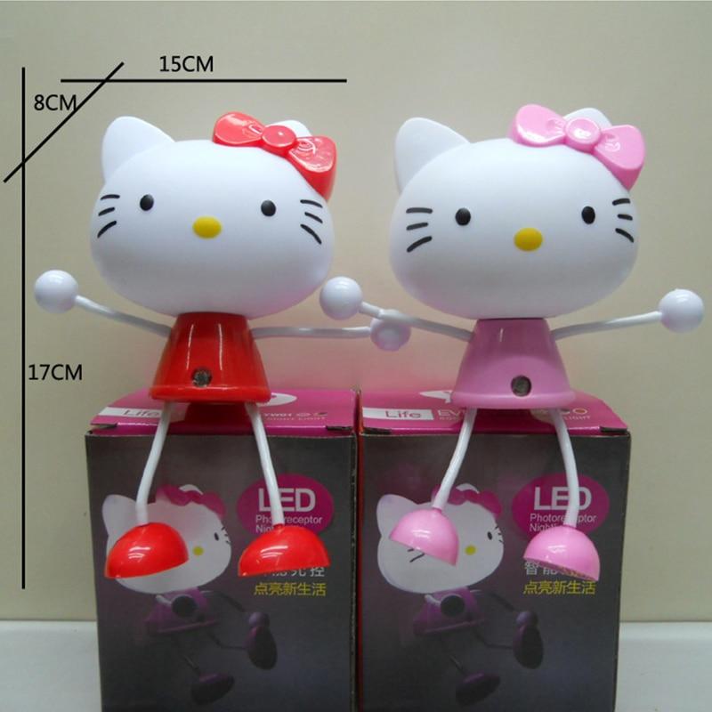 Cute Kitty LED Decoration Light Sensor Control Cartoon Night Light - Hello kitty lamps for bedroom