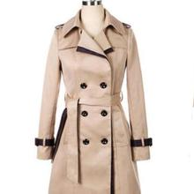 2018 Autumn Women Double Breasted Long Trench Coat Khaki With Belt Classic Casua
