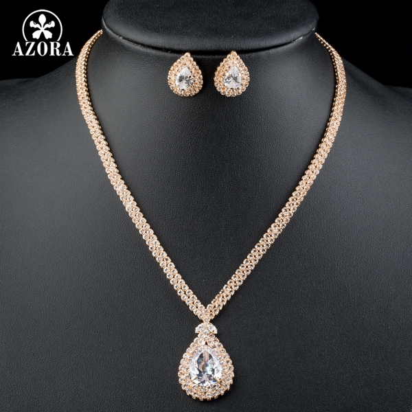 AZORA υπέροχο χρυσό χρώμα διαφανές CZ - Κοσμήματα μόδας - Φωτογραφία 4