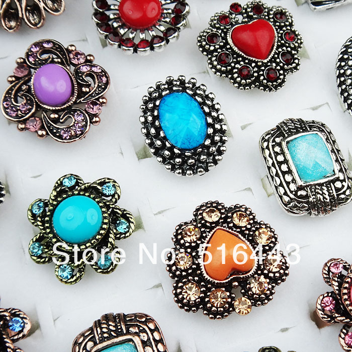 Wholesale 10pcs Mix Color Czech Rhiensotnes Antique Silver Plated Flower Round Vintage Womens Rings Jewelry A-260
