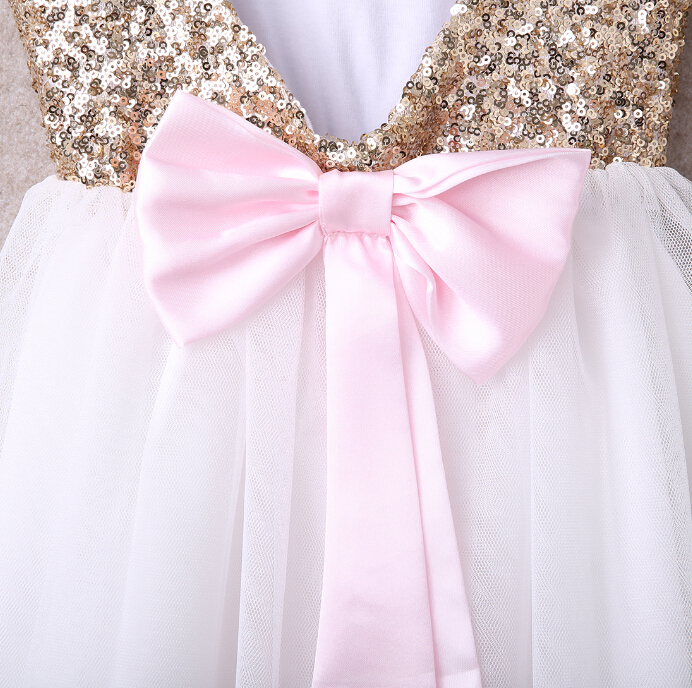 3-10Y Children Baby Girl Dress Clothing Sequins Party Gown Mini Ball Formal Love Backless Princess Bow Backless Gown Dress Girl 7