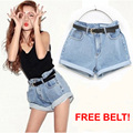 Super Cool Women Retro High Waisted Oversize Crimping Jeans Shorts with FREE Belt New Fashion Girl Jeans Shorts roupas