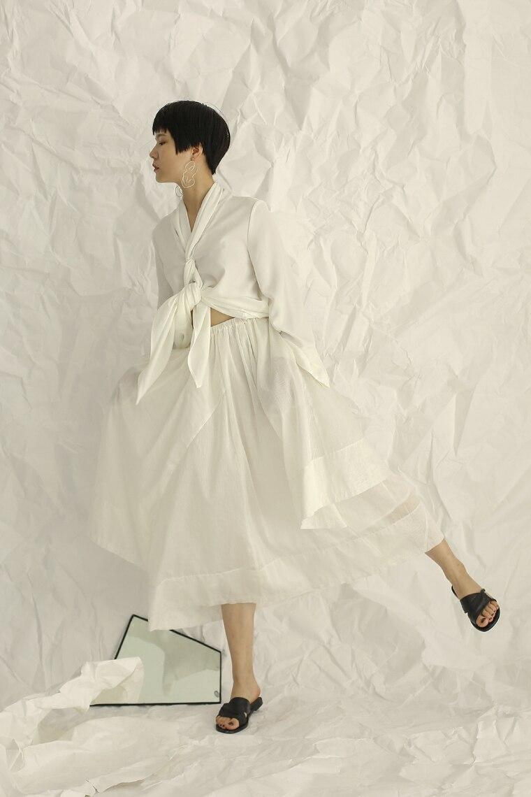 Maille Ligne Midi D'été Femmes Patchwork Gladself 2018 Designer Mode Irrégulière Jupe à De Une Casual Blanc 7zBwxtqO
