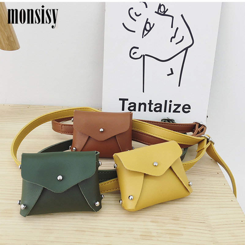 Monsisy Children Waist Bag PU Leather Waist Pack Kid Shoulder Bag Fashion Colorful Baby Girl Boy Fanny Pouch Wallet Belt Bag