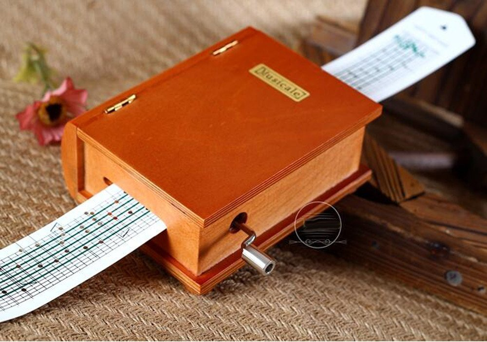 15 Notes Wooden Book Music box Musical Toy DIY Make Yr Own Song Include a Punch, 20 Blank Paper and 16 music Paper Best Gift