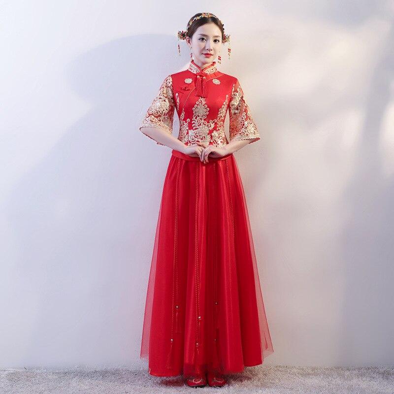 Robe de mariée rouge nouvelle robe chinoise modifiée Cheongsam Toast vêtements femme Dragon et Phoenix robe robe de mariée