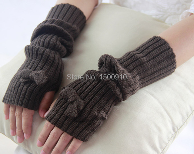 Brown Womens Cute Fingerless Bow Gloves Bridal Gloves Pattern