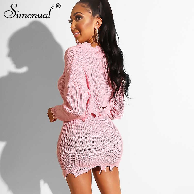 Simenual z dzianiny jesień 2019 moda 2 sztuka stroje kobiety z długim rękawem na co dzień dopasowane zestawy stałe przycięte sweter i spódnica zestaw