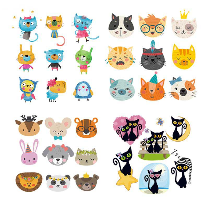 Pulaqi Cartoon Animal Iron On Patches For Clothing Heat Transfers Kids Shirts Cute Cat Rabbit Stripes Clothes DIY