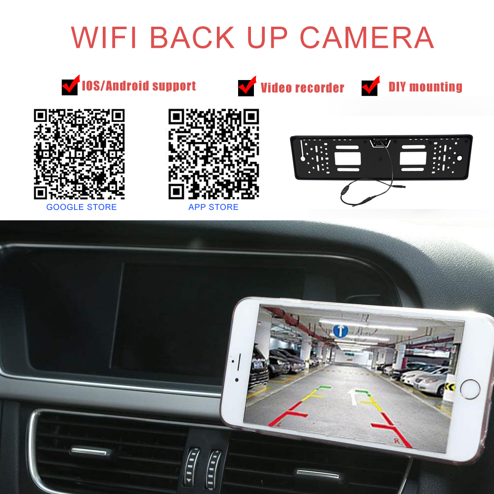 Image 4 - EU HD Camera License Plate Frame Car DVR Wifi Backup Parking Reverse Rear View Camera Vehicle Auto Security Camera Night Vision-in Vehicle Camera from Automobiles & Motorcycles