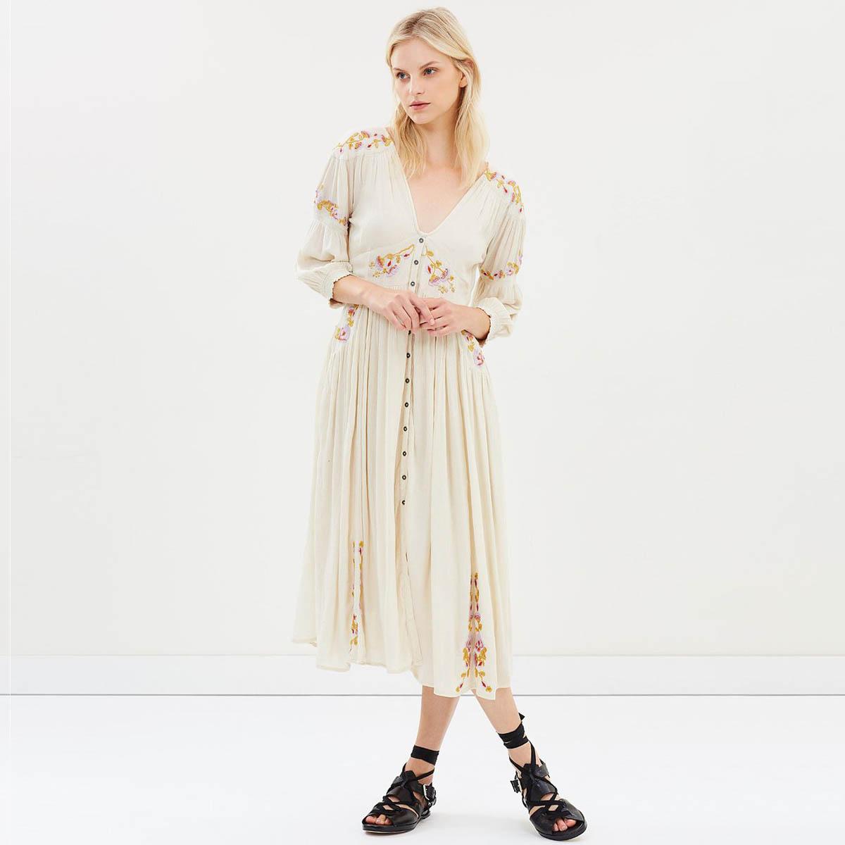 Lueur Chic Midi robe pour femmes 2019 D'été col en V de Split Bouton-up Sexy Robes Dames Boho Floral Broderie Beach Party conduites de carburant