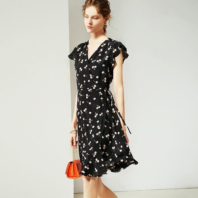 Vestido de verano 2019 para mujer nueva moda seda estampado cuello pico sin mangas ajustado A Line vestido Casual rodilla longitud S XL - 4