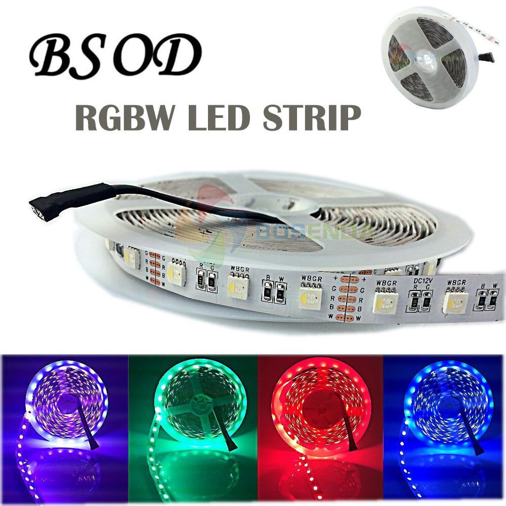 5050 LED RGBW / RGBWW ზოლის მსუბუქი 4in1 Led მოქნილი ფირზე DC 12V / 24V 5M 60LED / M 300LED მაღალი სიკაშკაშის სიმებიანი 3M სტიკერი