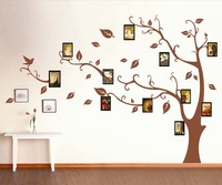 2016 venta caliente marrón 3d diy foto tree pvc wall stickers/adhesivo familia pegatinas de pared arte mural decoración para el hogar 130*110 cm