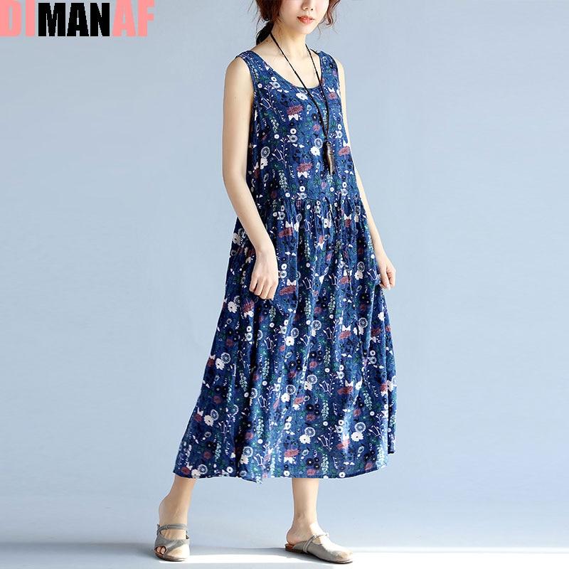 DIMANAF Big Size Women Summer Dress Floral Print Linen Sundress Linen Sleeveless Beach Female Fashion Loose Beach Blue Dresses
