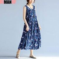 DIMANAF Plus Size Women Summer Dress Floral Print Linen Sundress Linen Sleeveless Beach Female Fashion Loose