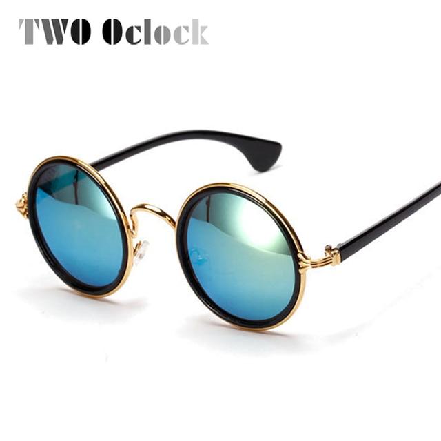 TWO Oclock Vintage Steampunk Round Sunglasses Women Gold Metal Mirrored Sunglass Retro Shades Men Brand Sun Glasses oculos 5201