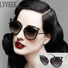 2017 Hot Sale Sexy Cat Eyes Sunglasses Women Brand Metal Designer Frame Eyeware oculos de sol feminino Lady Vintage Sun Glasses