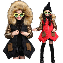 купить Kids Winter Jacket for Girls Coat with Fur Collar Slim Fit Princess Big Fur Hoodie Outerwear Girls Shiny Winter Jackets Clothes дешево