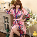 Free shipping Delicate Sexy Floral pattern Robe gown set Korean Style summer Free size Women long silk Robe 2 colors