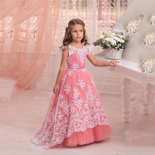 Color Coral Vestidos de Niña Para Las Bodas de Encaje Lindo Desfile ...