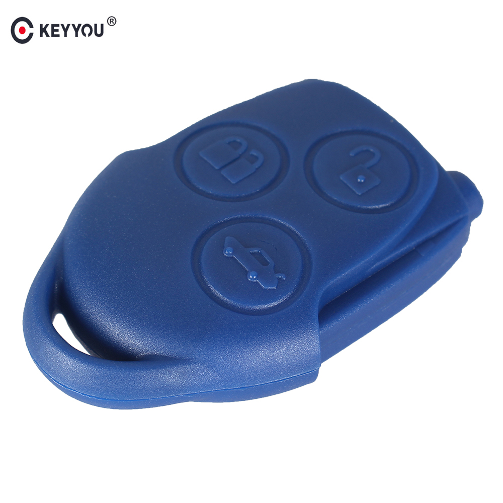 Keyyou 3 button connect remote key fob case shell for ford transit with blade blue