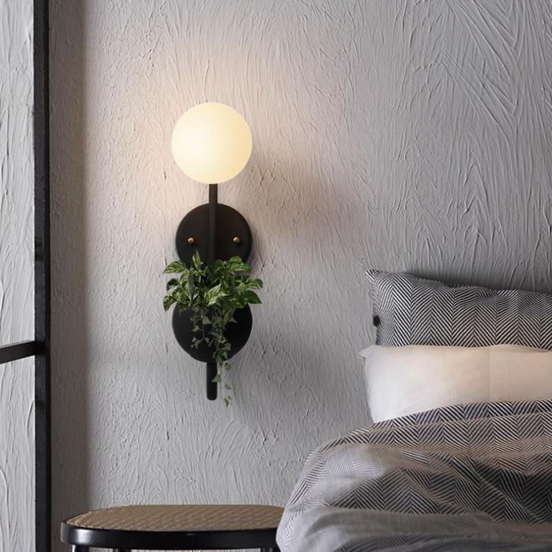 modern Mirror Light Nordic living room Decoration Wall Light study bedroom warm bedside macaron Color plant