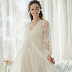 Image 2 - Lace Robe Long Robe Lady White Lace Embroidery Robe and Slip Two Pieces For Women Robe Sleepwear Bride