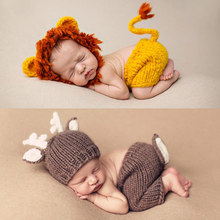 Newborn Baby Photography Props boy girls Crochet Knit Costume Hand Made Accessories kids lion Baby Caps childs deer Hats set
