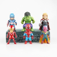6pcs The Spider-Man Tony Stark Captain Vision Thor Mini Figure Collectible Free Shipping