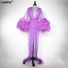 Purple Feathers Muslim Formal Evening Prom Party Dress Robe De Soiree Dubai Turkish Arabic Gowns Dresses Avondjurk 2019