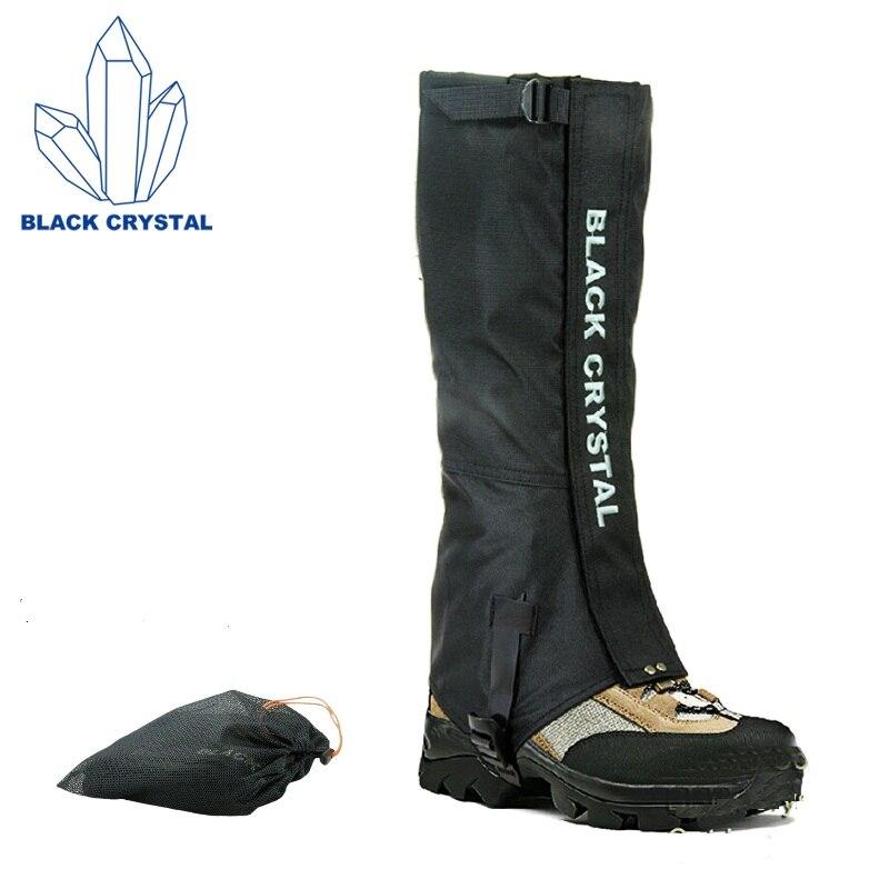 Cristal preto Caminhadas Trekking Ski Polainas De Neve À Prova D' Água Nylon Respirável Leggings Polainas Preto