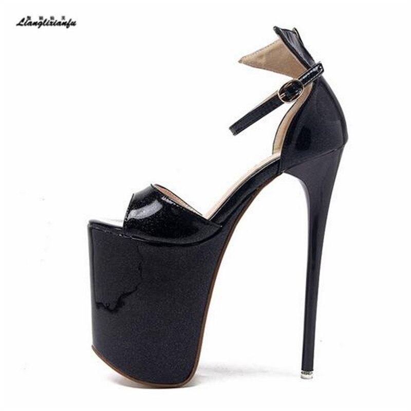 Schuhe 43 Nachtclub Llxf Sommer Lackleder rot Stiletto Absätzen Frau 42 20 mit 41 Pumpen Sapato 34 Schwarzes Sandalen Plus Weiblichen High Cm Hohen Schnalle YqwAYv