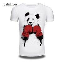 DY 44 Mens Short Sleeved O Neck T Shirts Funny Panda Boxing Mens Street Trendy Top
